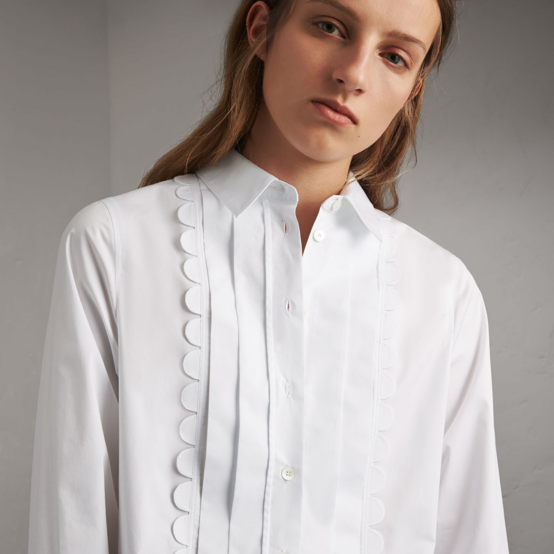 Pintuck Bib Scallop Detail Cotton Shirt - Women | Burberry Australia - gallery image 2