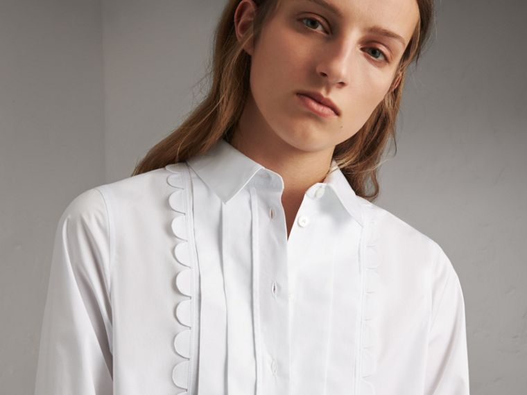 Pintuck Bib Scallop Detail Cotton Shirt - Women | Burberry Australia - cell image 1
