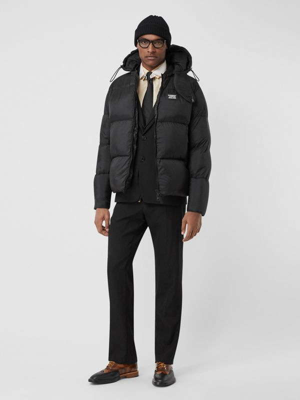 Monogram Stripe Print Puffer Jacket in Black | Burberry - cell image 3