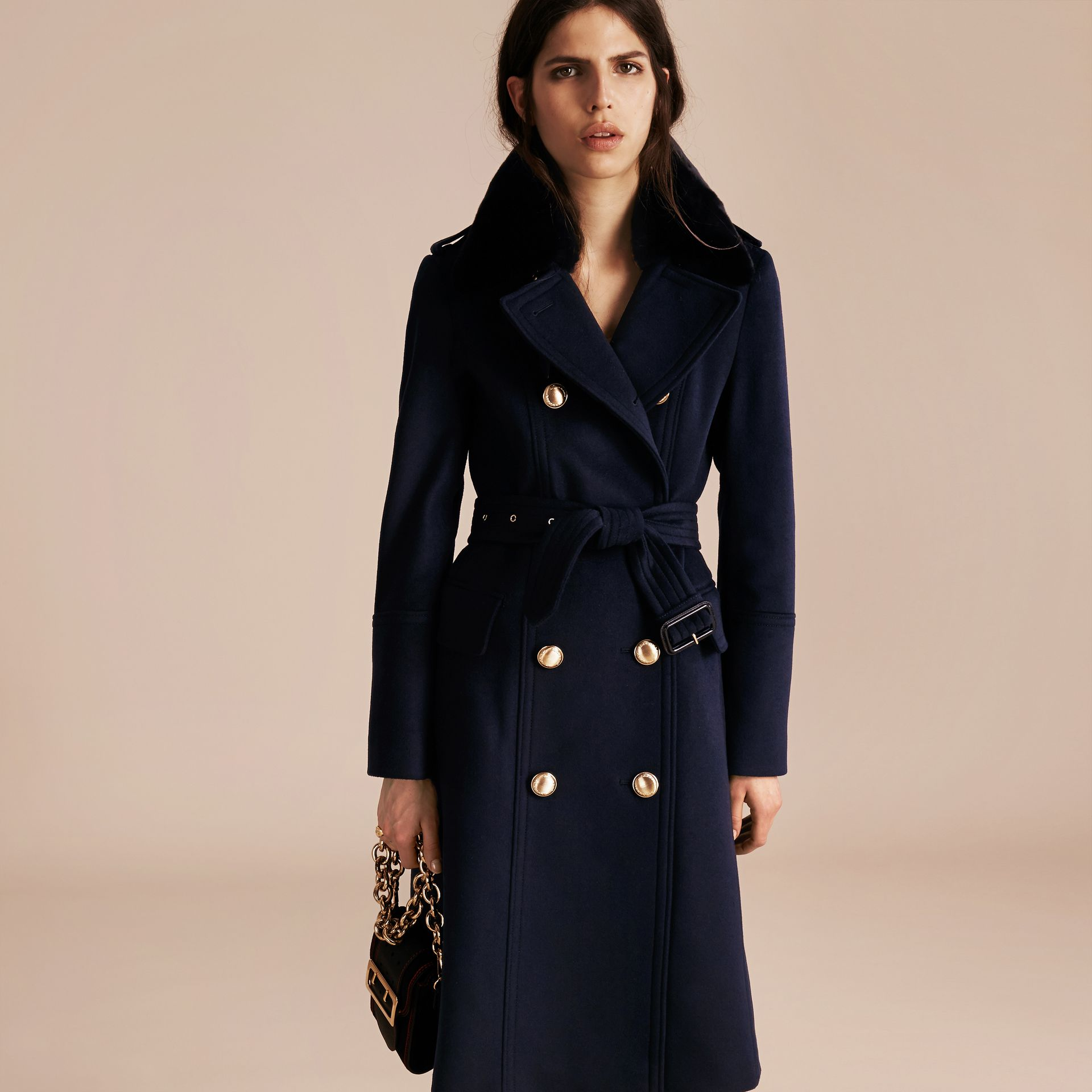 Navy Wool Cashmere Trench Coat with Detachable Fur Collar - gallery image 7