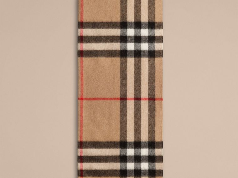Camel check Exploded Check Cashmere Snood - cell image 2