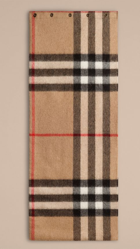 Camel check Exploded Check Cashmere Snood - Image 3