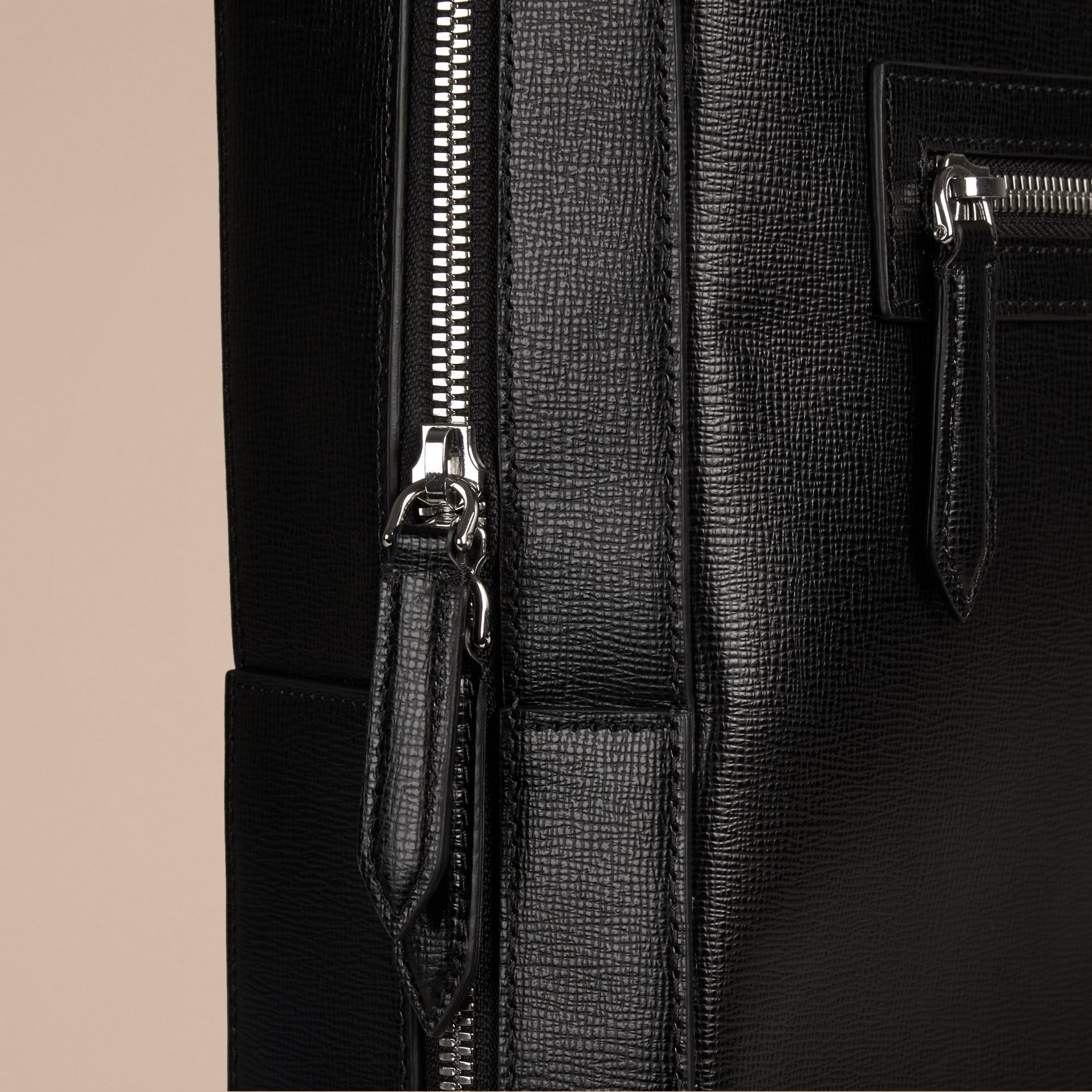 Black London Leather Backpack Black - gallery image 5