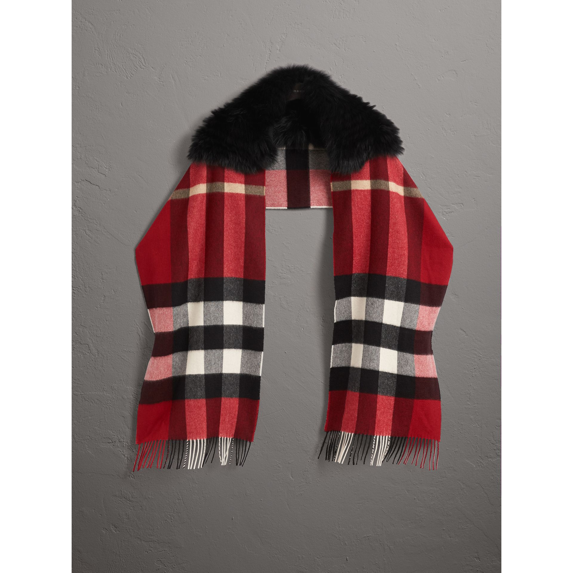 Fox Fur Trim Check Cashmere Scarf in Parade Red - Women | Burberry - gallery image 0