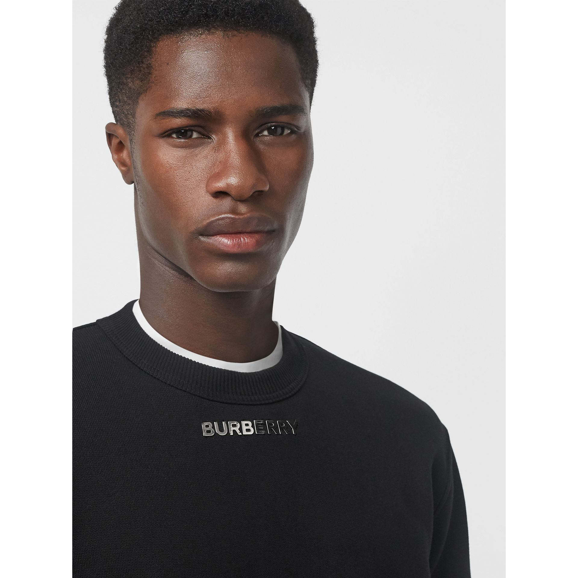Metal Letter Logo Sweatshirt in Black - Men | Burberry Hong Kong - gallery image 3