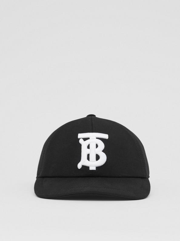 Monogram Motif Cotton Jersey Baseball Cap in Black