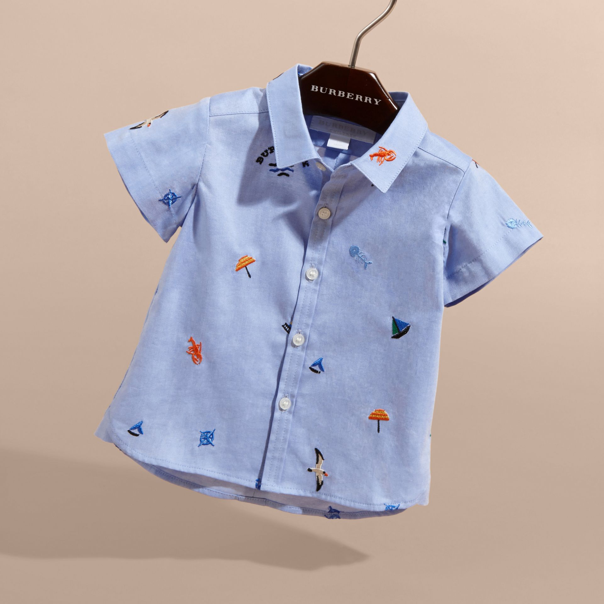Cotton Oxford Shirt with Embroidered Nautical Motifs - Children | Burberry - gallery image 3