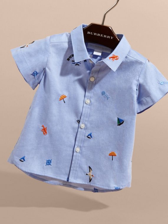 Cotton Oxford Shirt with Embroidered Nautical Motifs - Children | Burberry - cell image 2