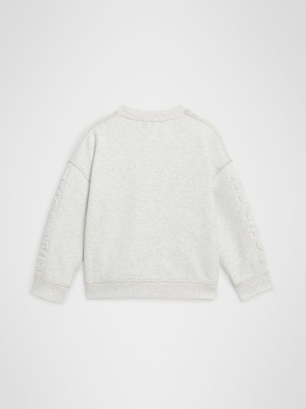 Embossed Logo Cotton Sweatshirt in White Melange | Burberry - cell image 3