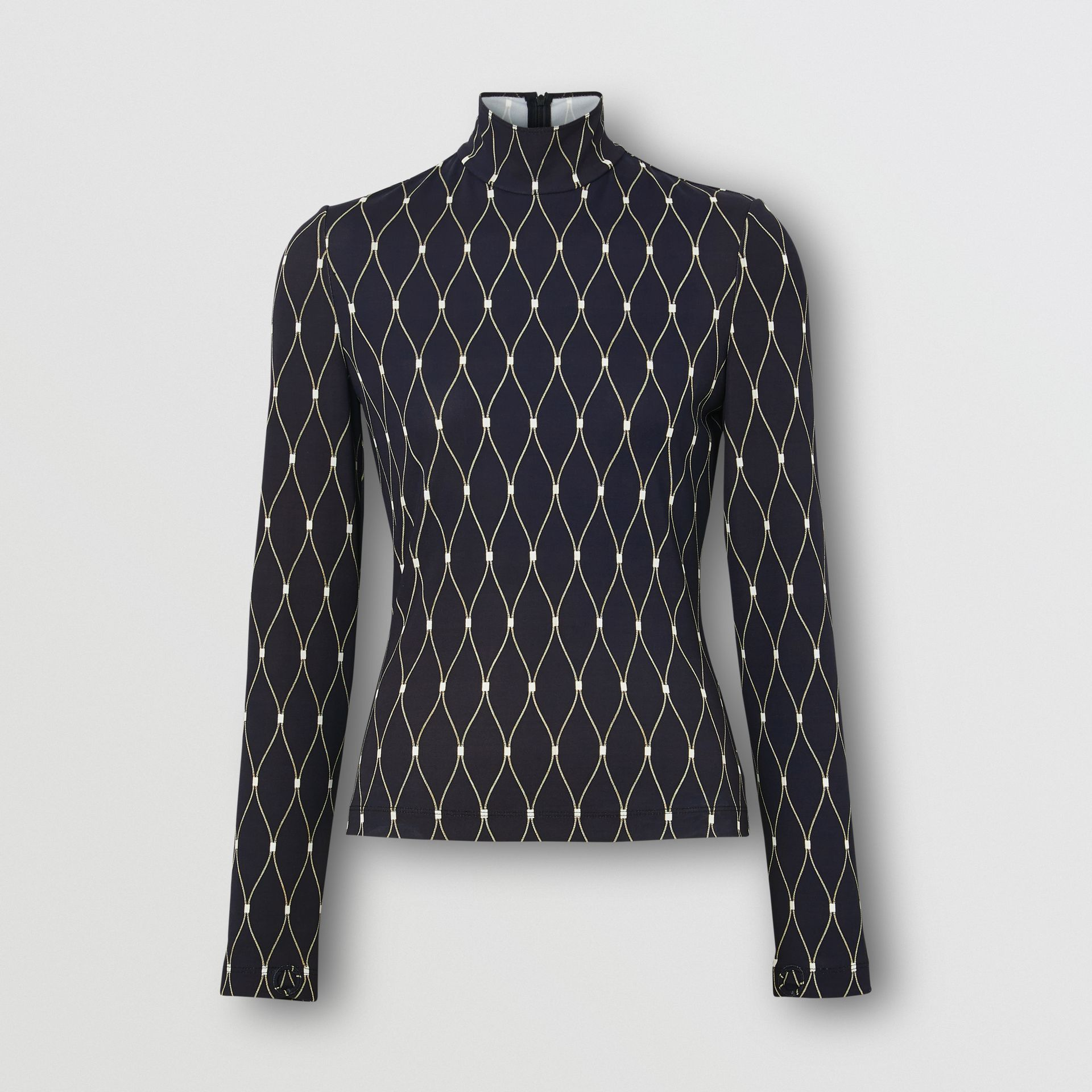 Net Print Stretch Jersey Turtleneck Top in Black - Women | Burberry - gallery image 3
