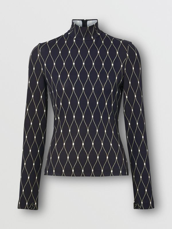 Net Print Stretch Jersey Turtleneck Top in Black - Women | Burberry - cell image 3