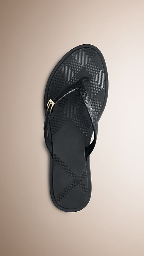 Black Embossed Check Flip Flops - Image 1
