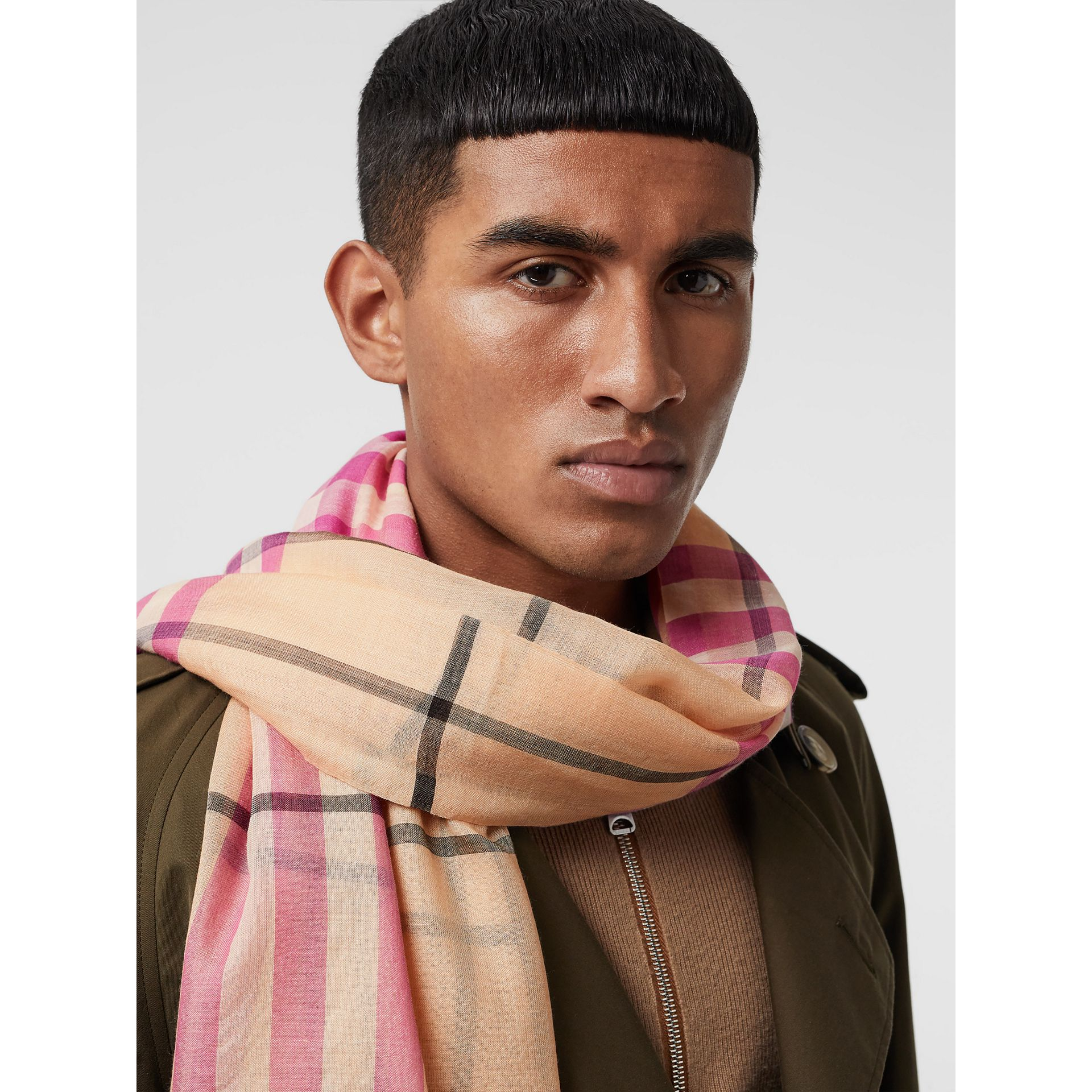 Lightweight Check Wool and Silk Scarf in Pale Apricot | Burberry Australia - gallery image 6