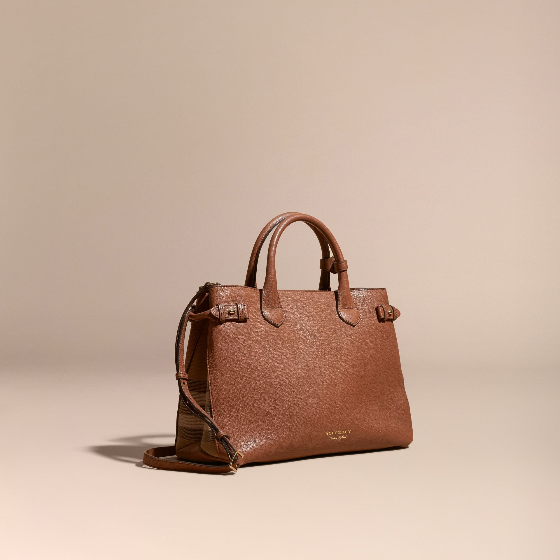 The Medium Banner in Leather and House Check in Tan - Women | Burberry - gallery image 1