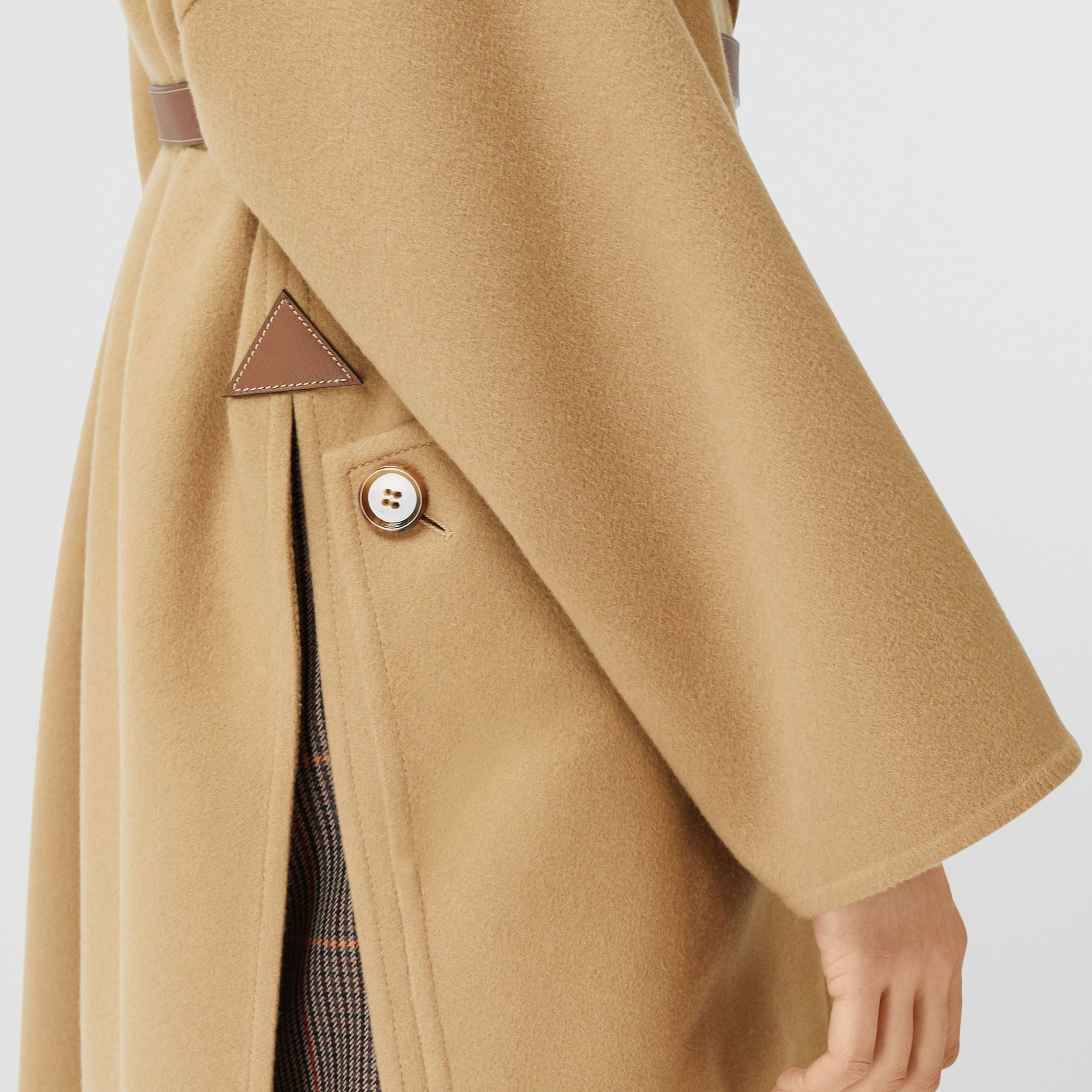Pocket Detail Double-faced Cashmere Wrap Coat in Camel - Women | Burberry - 4