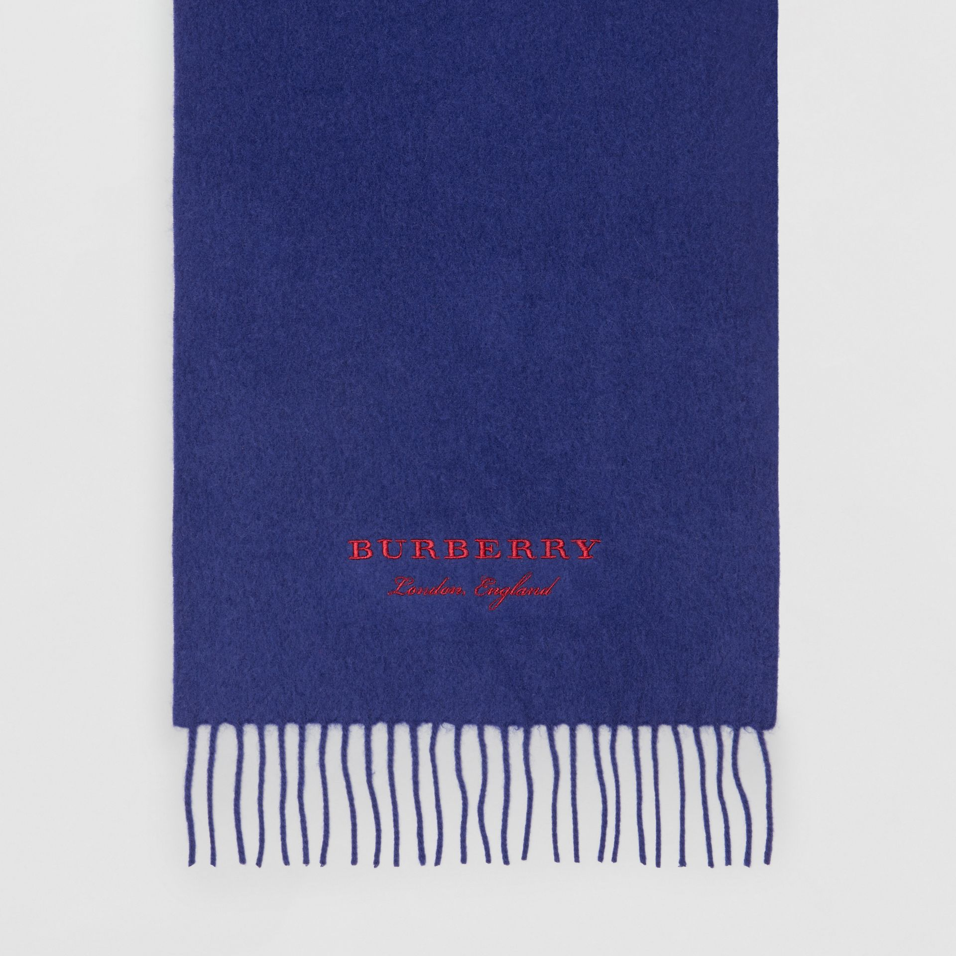 Embroidered Cashmere Fleece Scarf in Bright Navy | Burberry Australia - gallery image 4