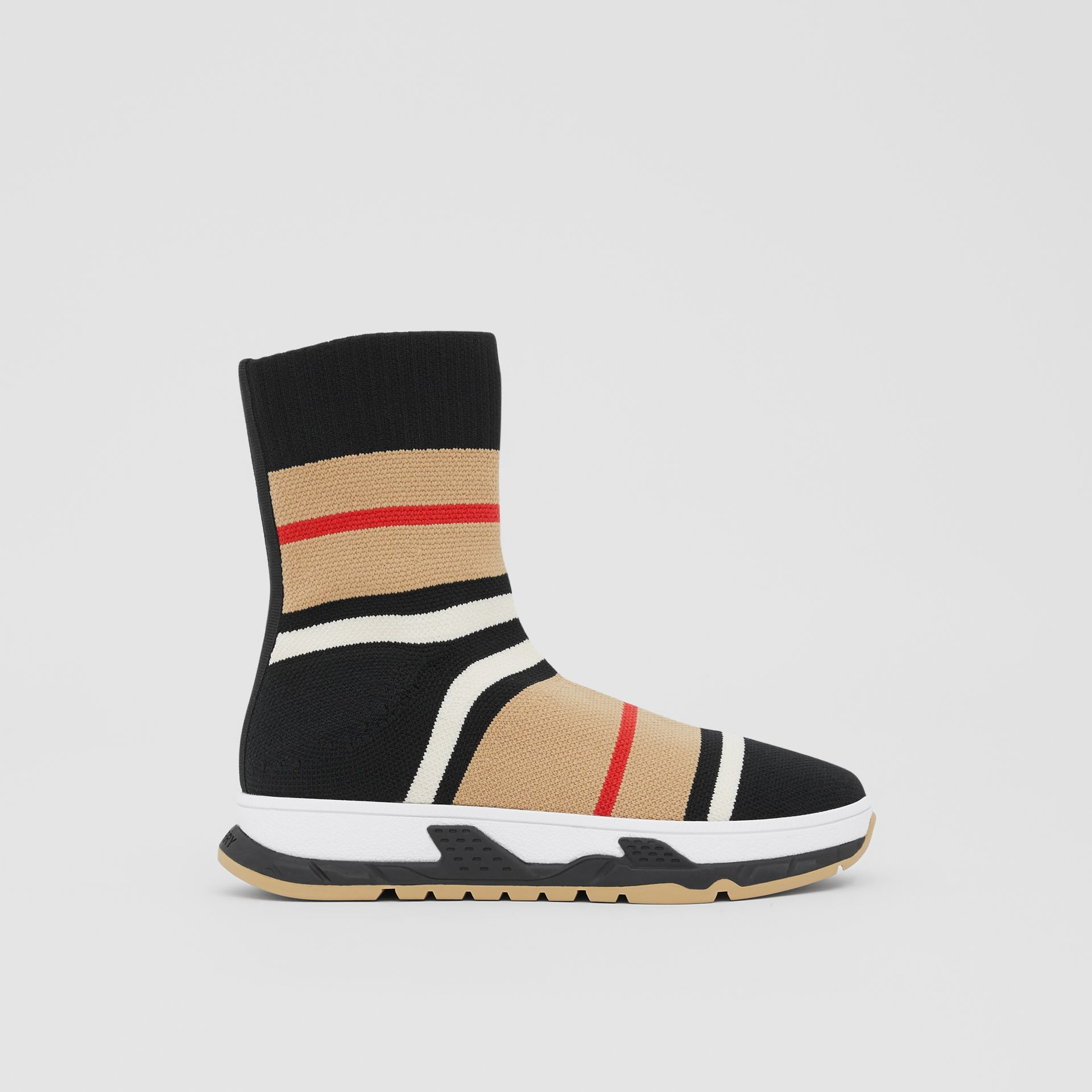 Striped Stretch Knit Sock Sneakers in Black - Children | Burberry - gallery image 3