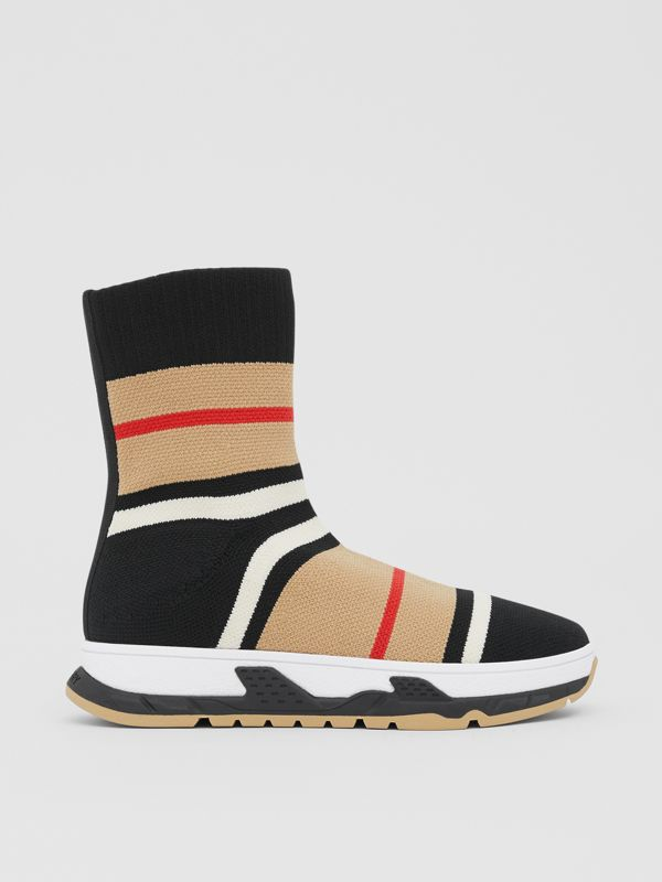 Striped Stretch Knit Sock Sneakers in Black - Children | Burberry Hong Kong S.A.R - cell image 3