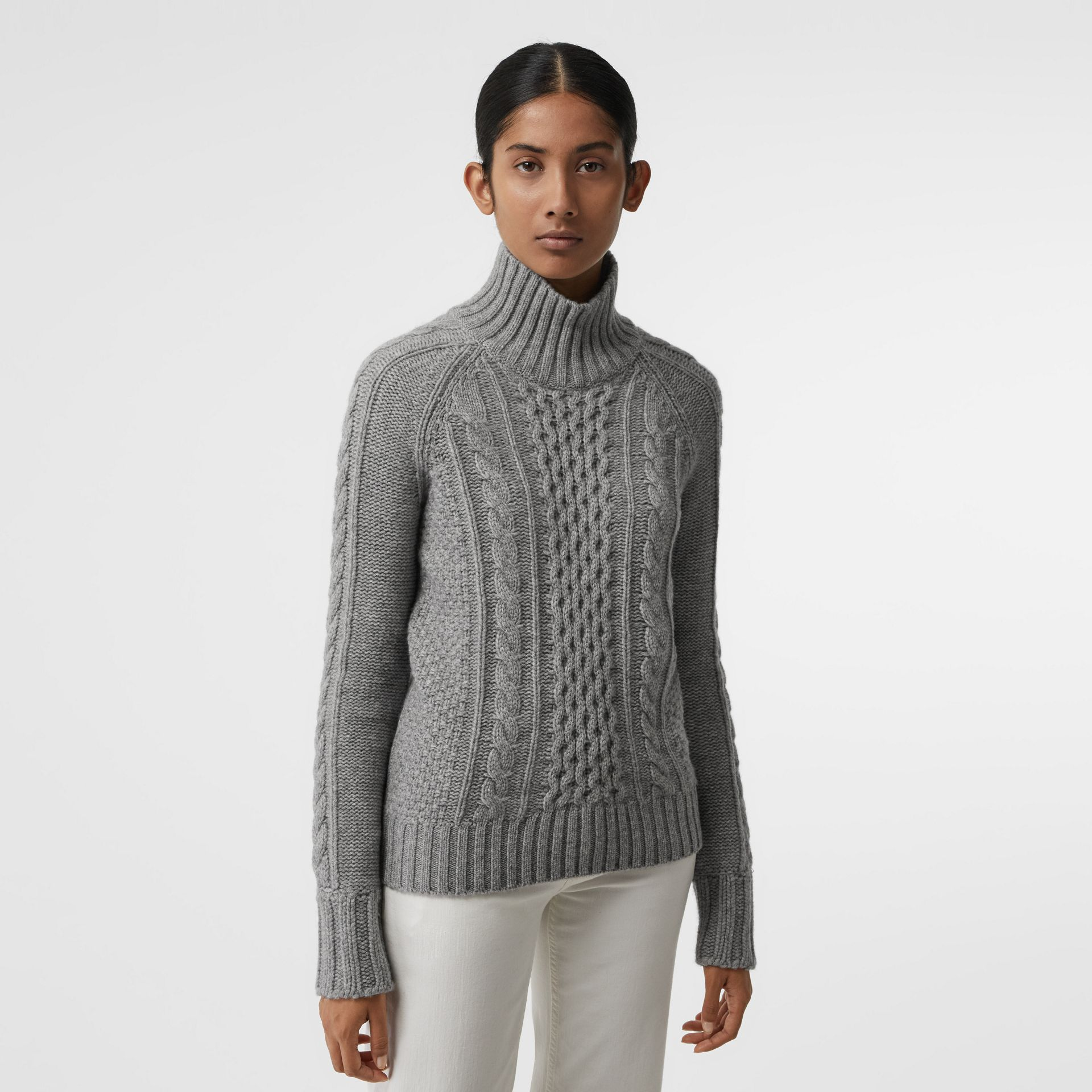 Cable Knit Cashmere Turtleneck Sweater in Mid Grey Melange - Women | Burberry Singapore - gallery image 0
