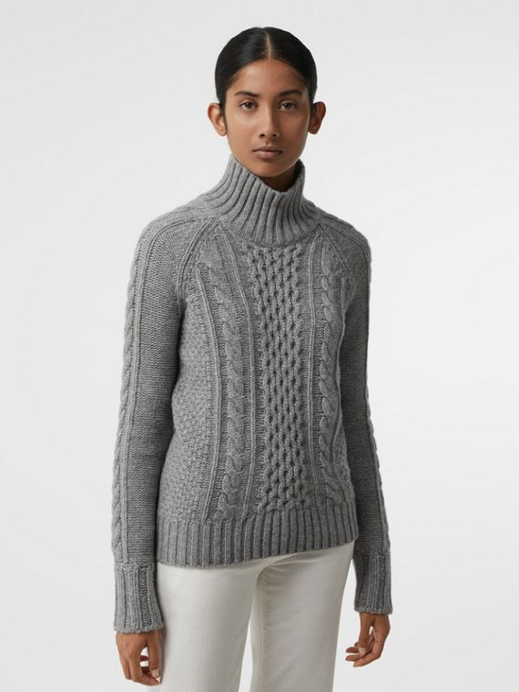 Cable Knit Cashmere Turtleneck Sweater in Mid Grey Melange