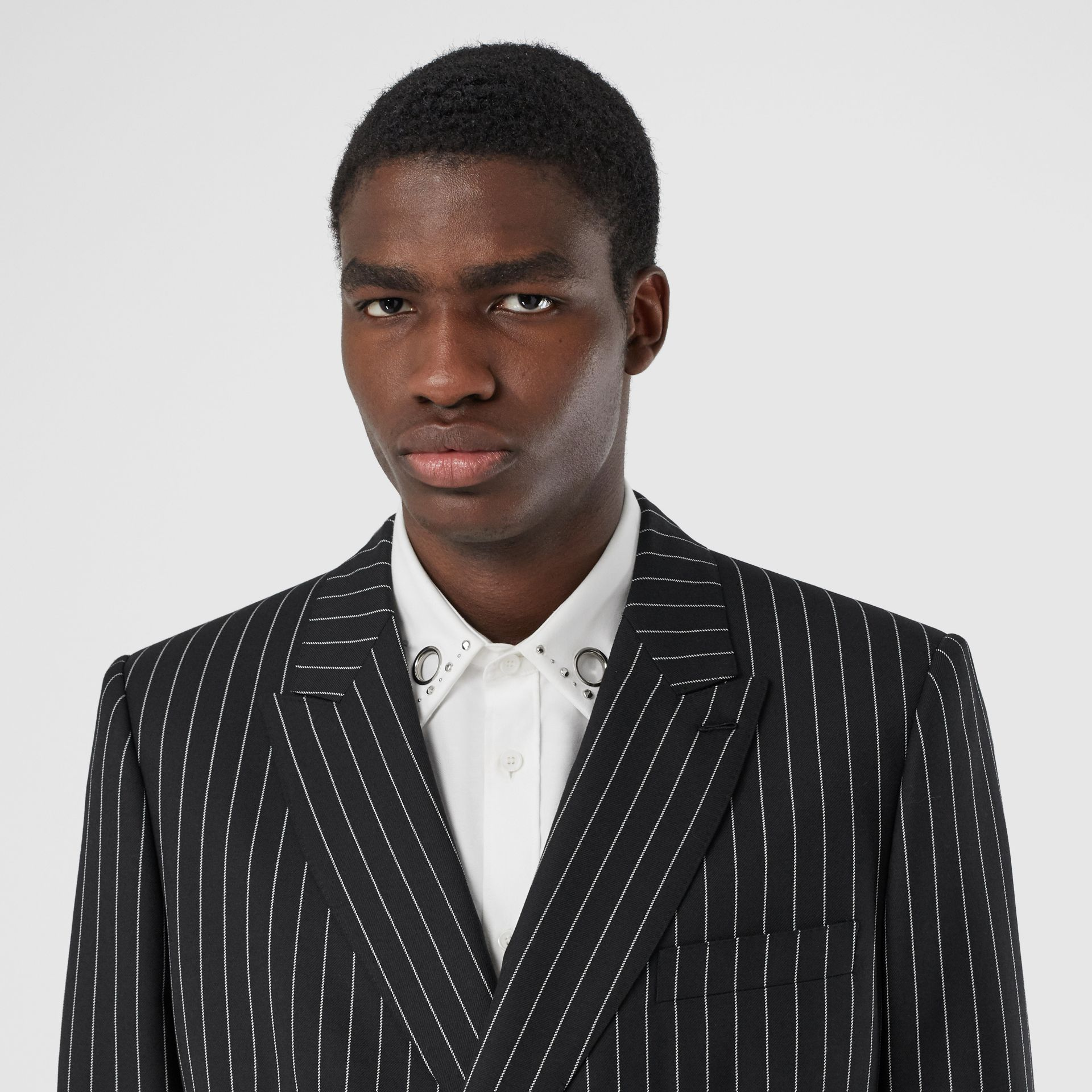 English Fit Pinstriped Wool Suit in Black - Men | Burberry United Kingdom - gallery image 1