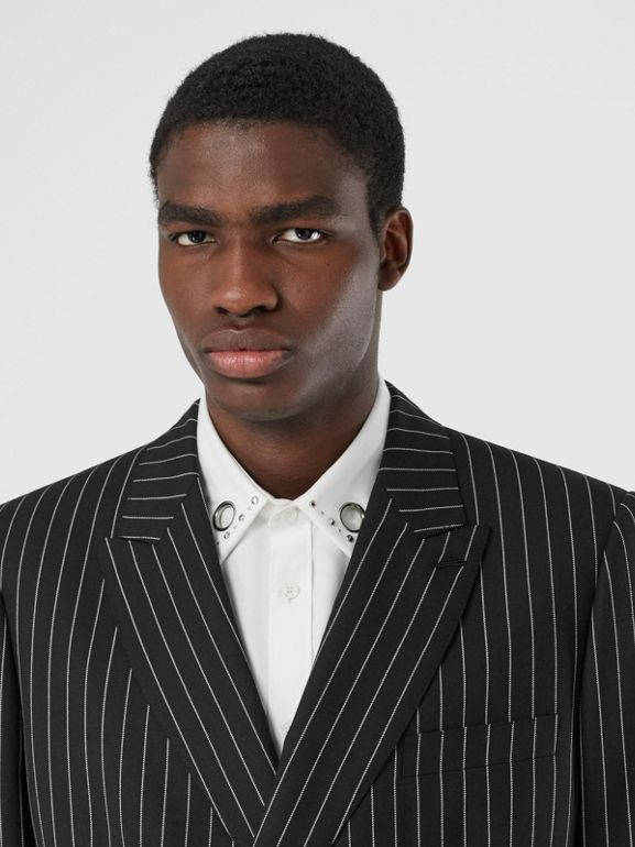 English Fit Pinstriped Wool Suit in Black - Men | Burberry United Kingdom - cell image 1
