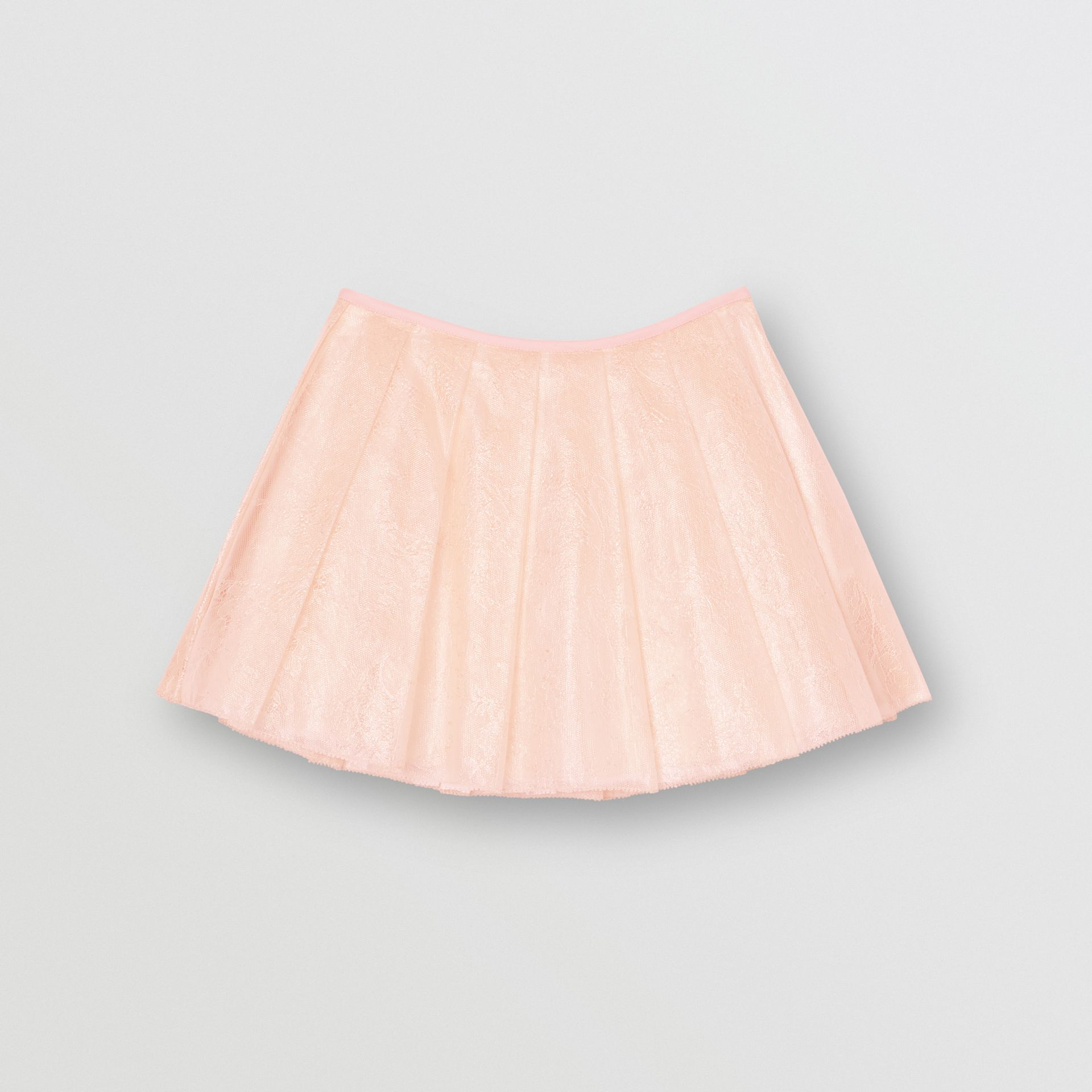 Pleated Laminated Lace Skirt in Pale Pink | Burberry - gallery image 0