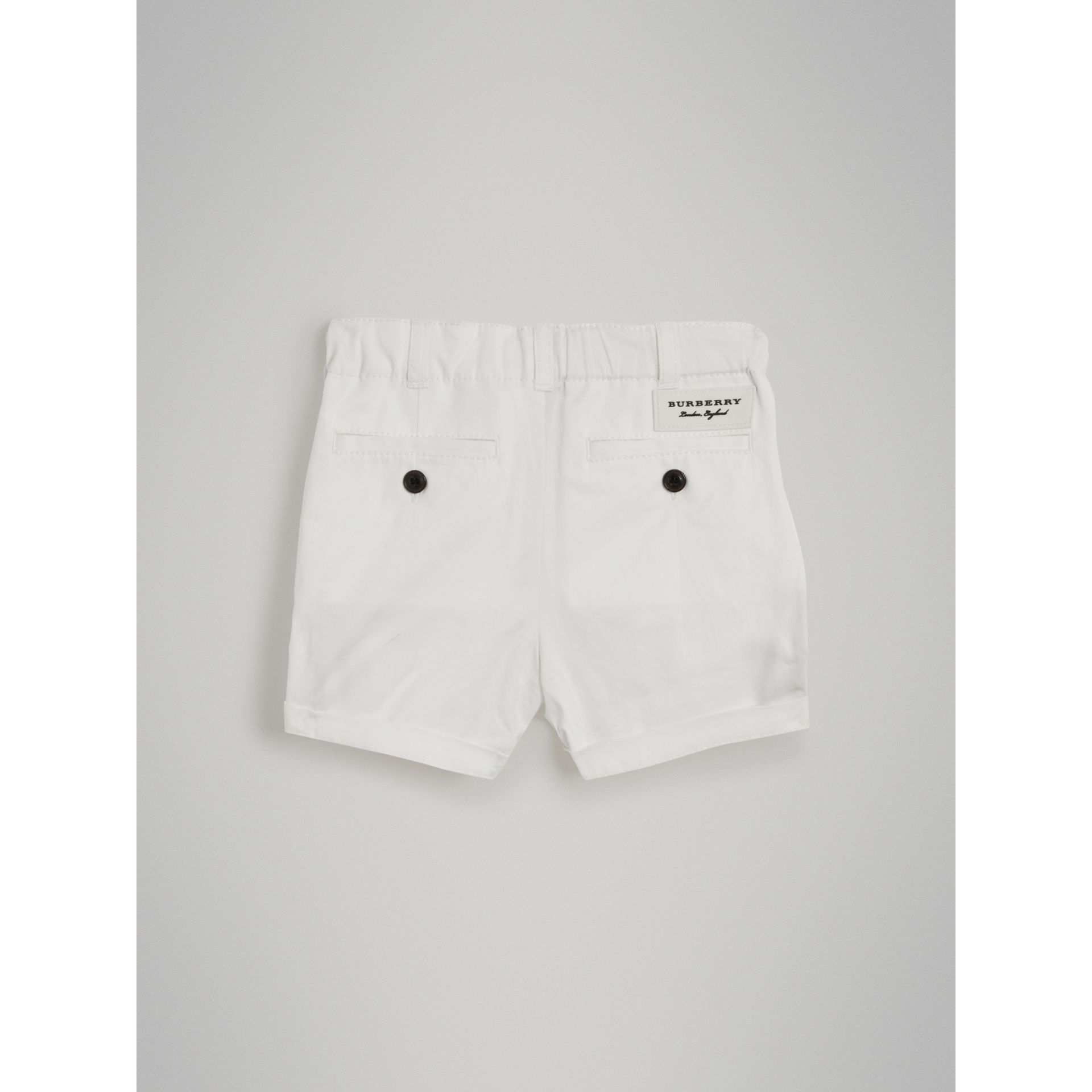 Cotton Twill Chino Shorts in White | Burberry - gallery image 3