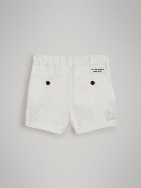 Cotton Twill Chino Shorts in White | Burberry - cell image 3
