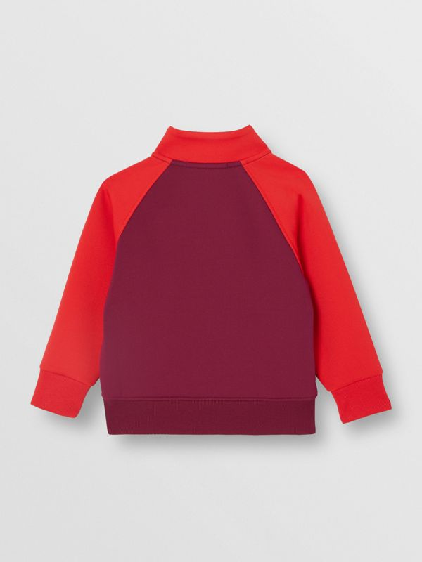 Logo Print Two-tone Stretch Jersey Track Top in Dark Burgundy - Children | Burberry - cell image 3