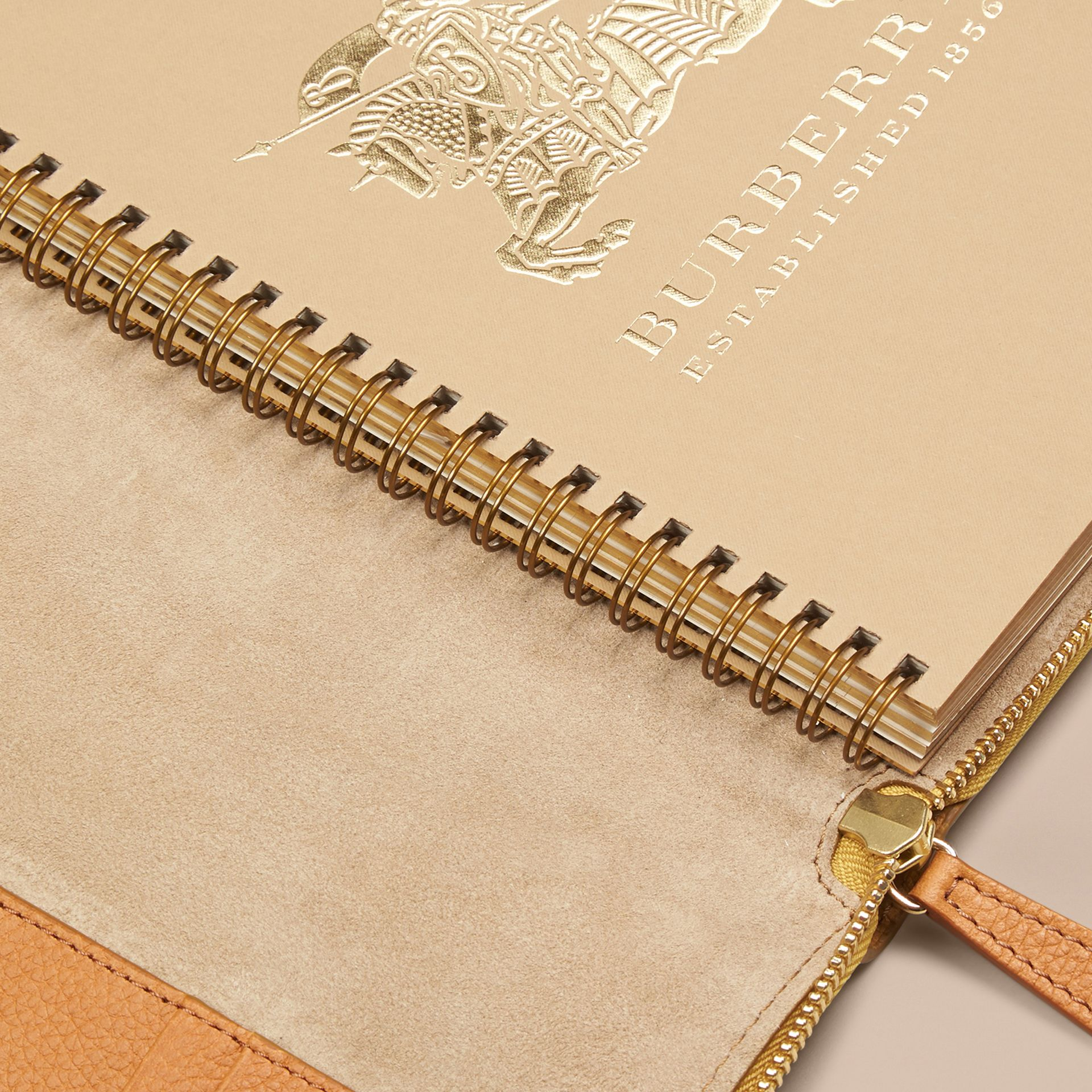 Ziparound Grainy Leather A5 Notebook in Ochre Yellow | Burberry - gallery image 5