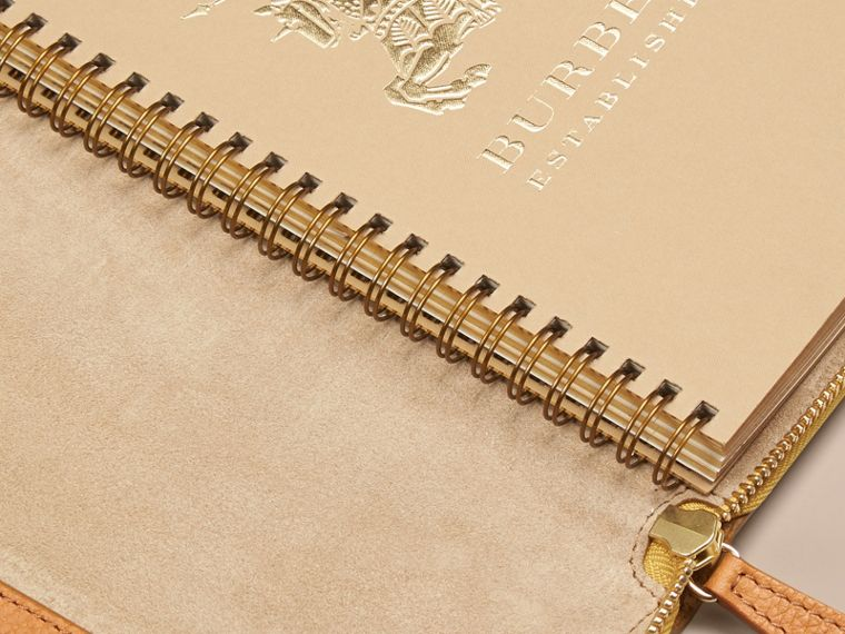 Ziparound Grainy Leather A5 Notebook in Ochre Yellow | Burberry - cell image 4
