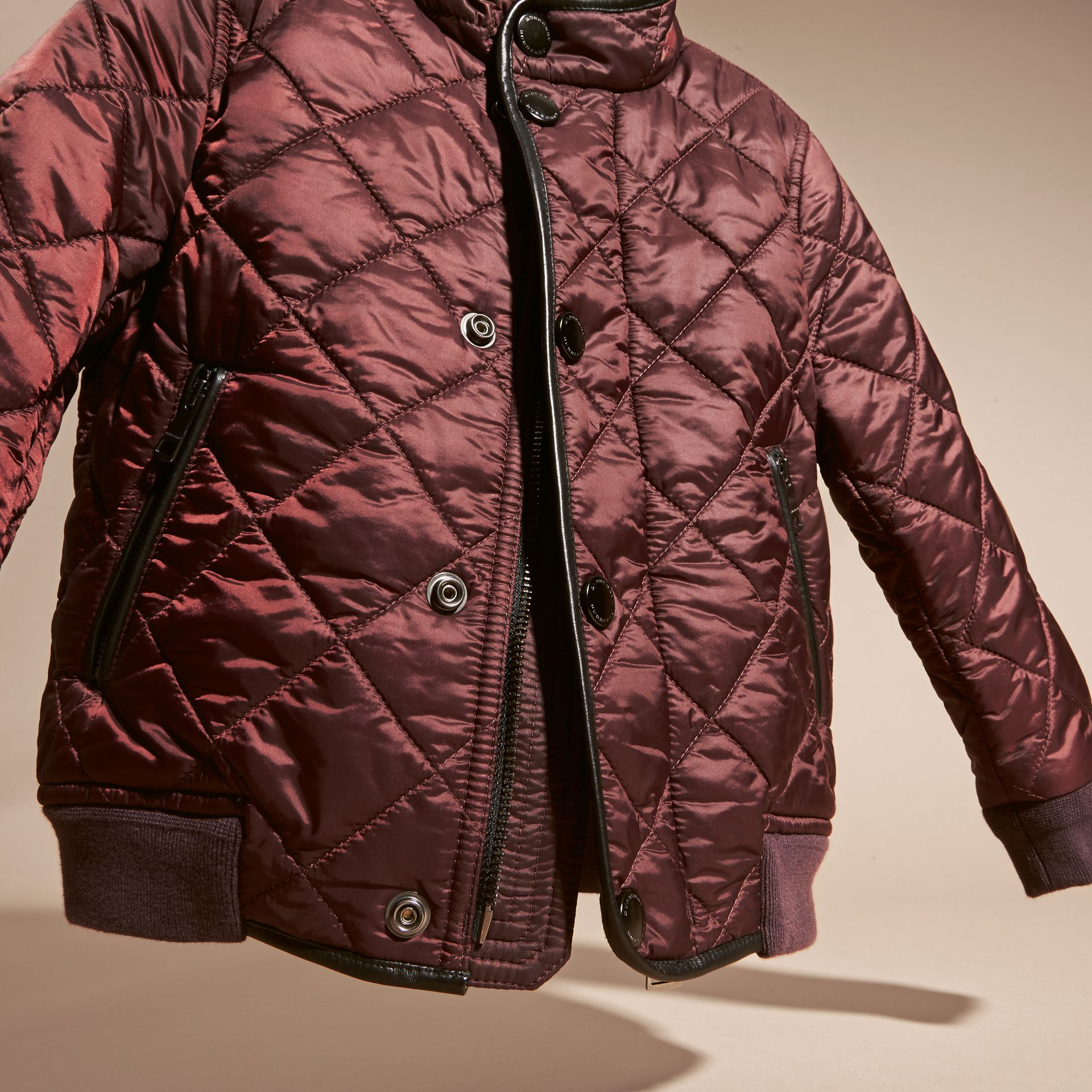 Deep burgundy Leather Trim Lightweight Quilted Bomber Jacket - gallery image 3