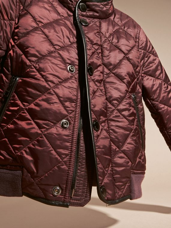 Deep burgundy Leather Trim Lightweight Quilted Bomber Jacket - cell image 2