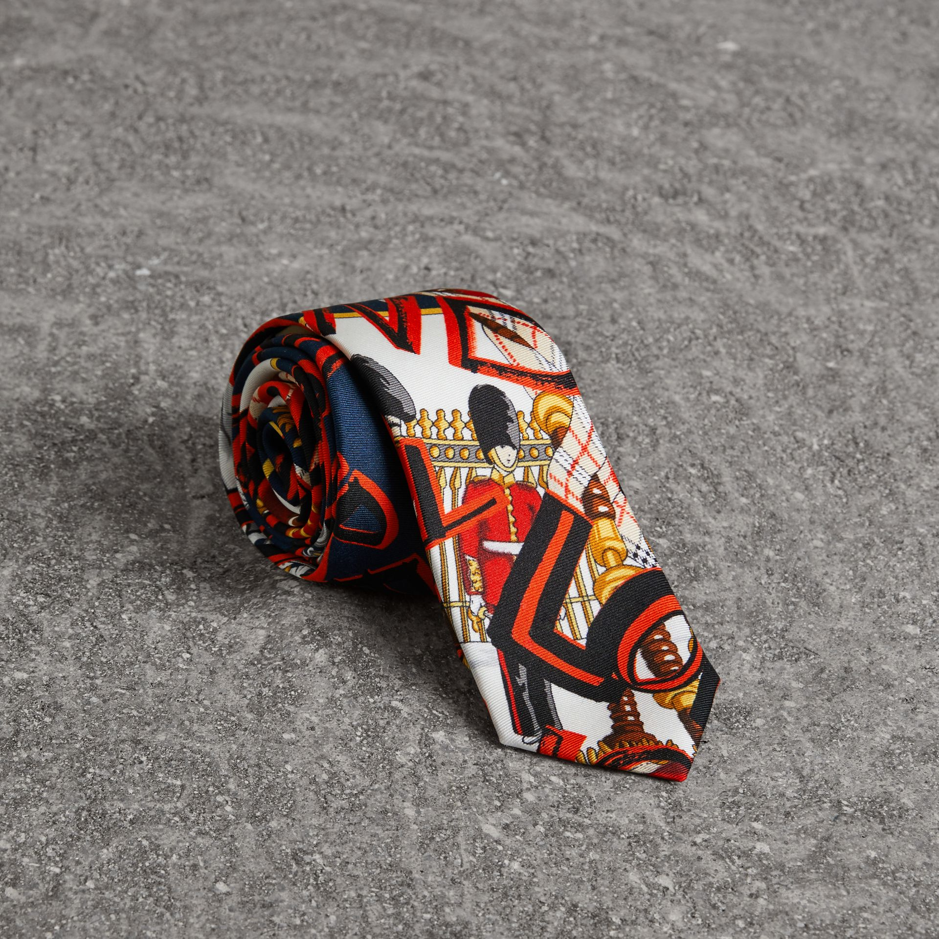 Slim Cut Graffiti Print Silk Tie in Navy - Men | Burberry - gallery image 0