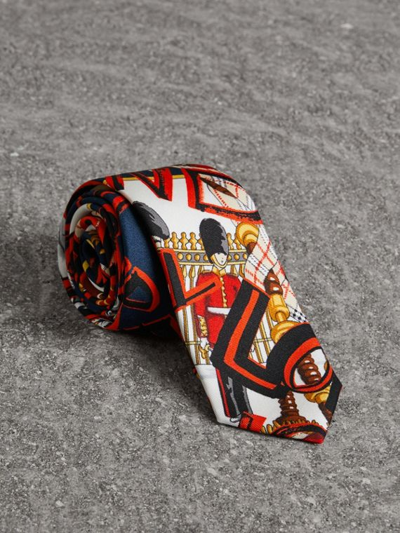 Cravate fine en soie avec imprimé graffiti (Marine)