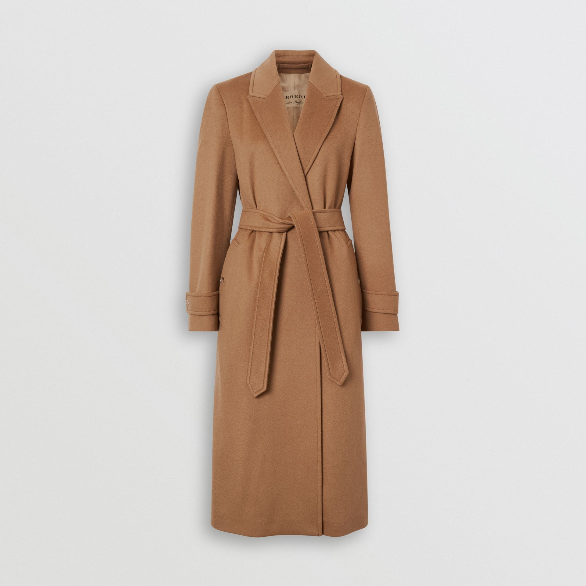 Peak Lapel Cashmere Wrap Coat in Dark Sand - Women | Burberry United Kingdom - gallery image 3