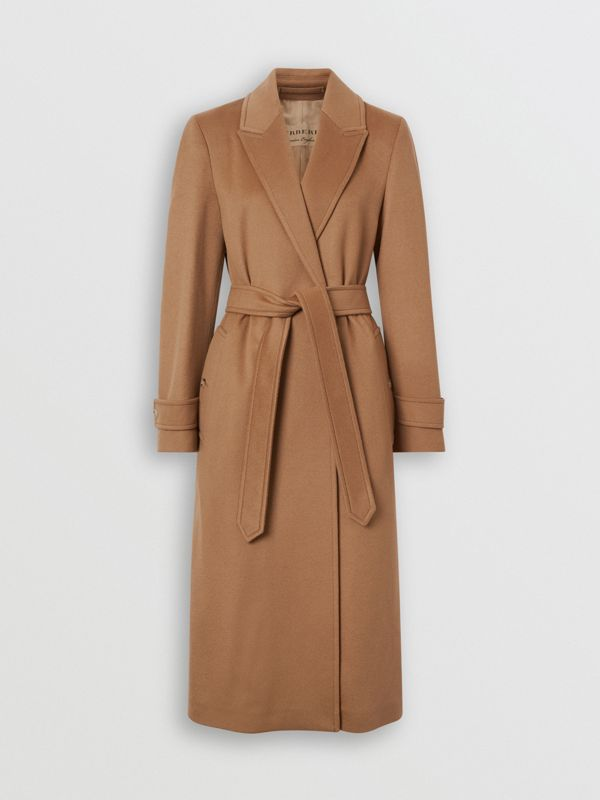 Peak Lapel Cashmere Wrap Coat in Dark Sand - Women | Burberry - cell image 3