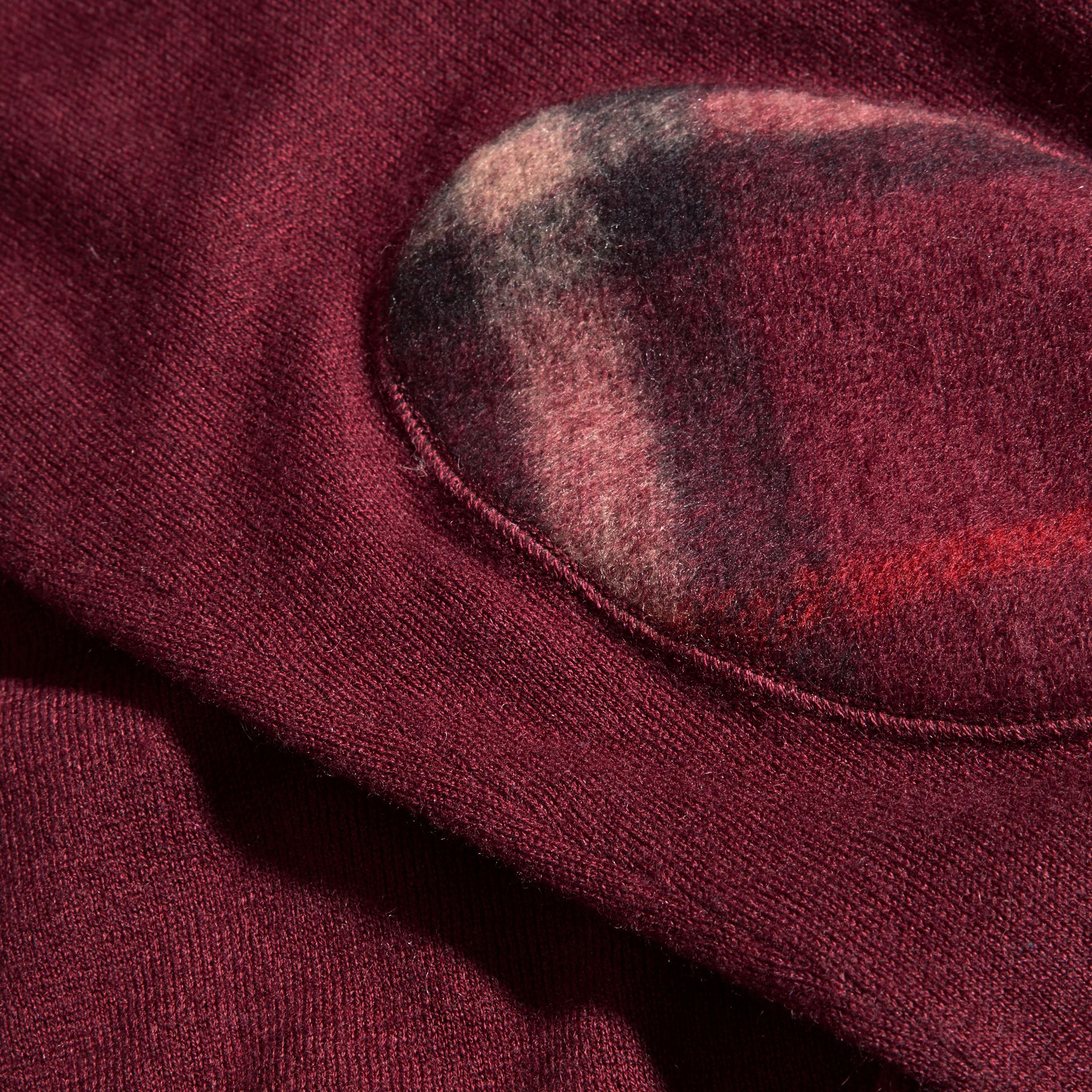 Check Trim Cashmere Cotton Sweater Claret - gallery image 2