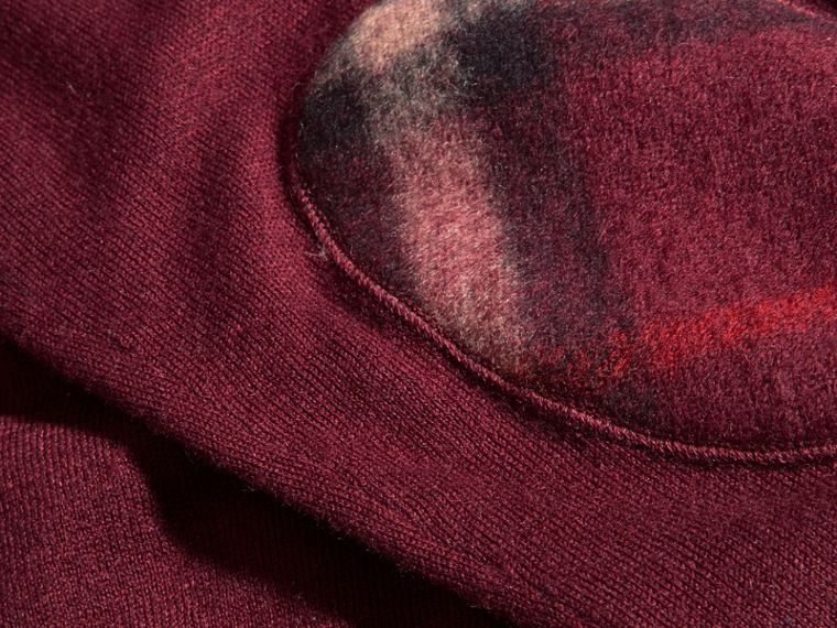 Check Trim Cashmere Cotton Sweater Claret - cell image 1