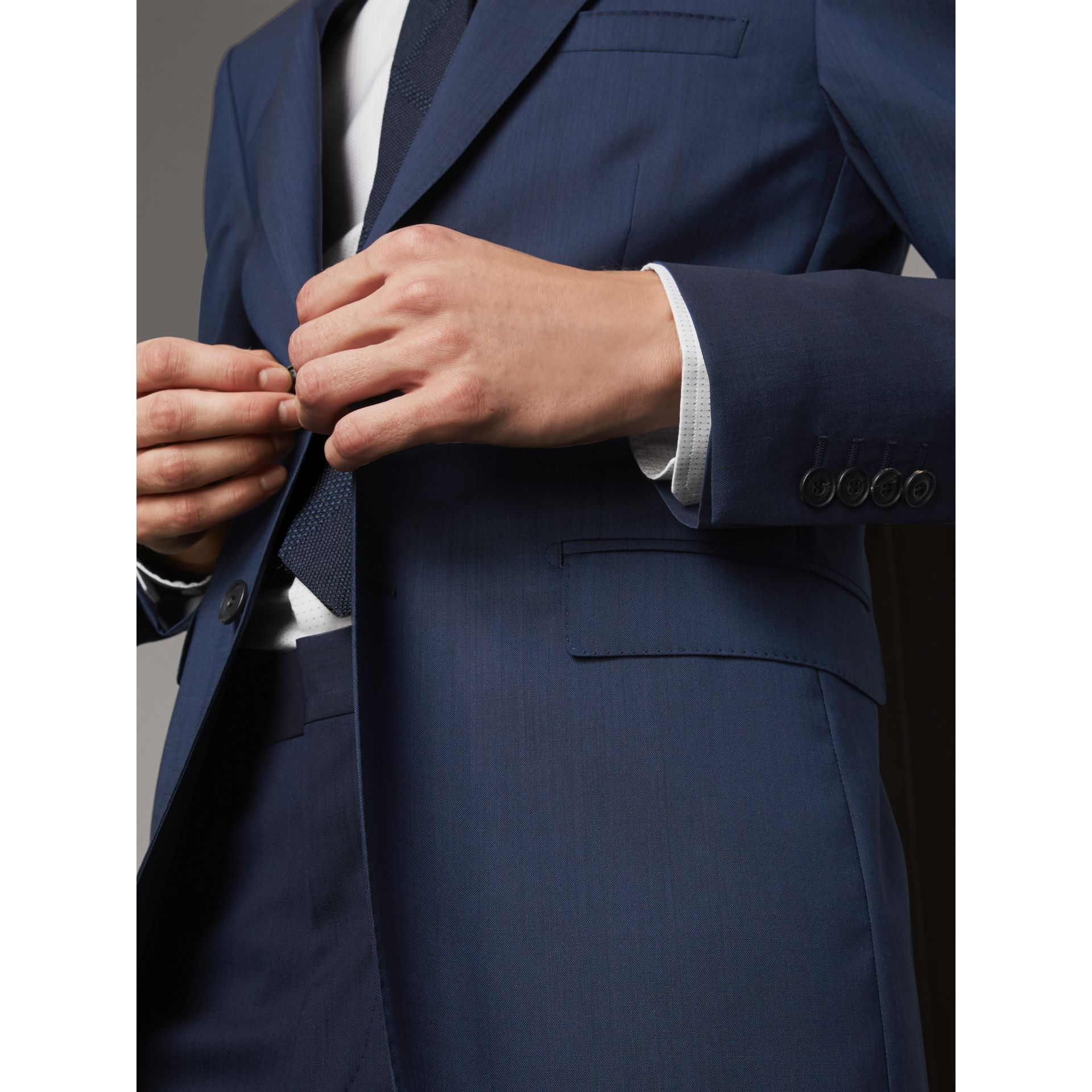 Modern Fit Stretch Wool Suit in Navy - Men | Burberry - gallery image 6