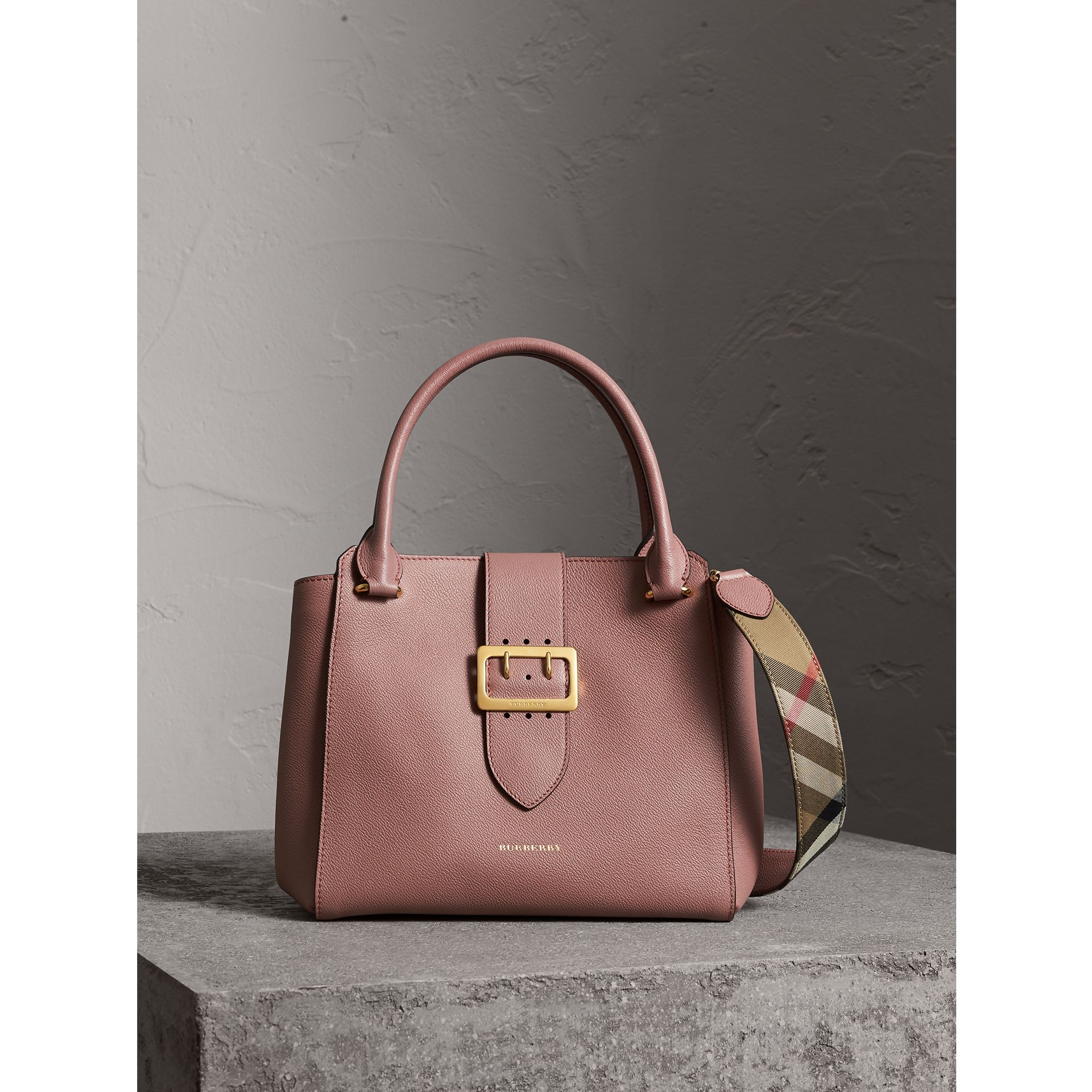The Medium Buckle Tote in Grainy Leather in Dusty Pink - Women | Burberry - gallery image 1