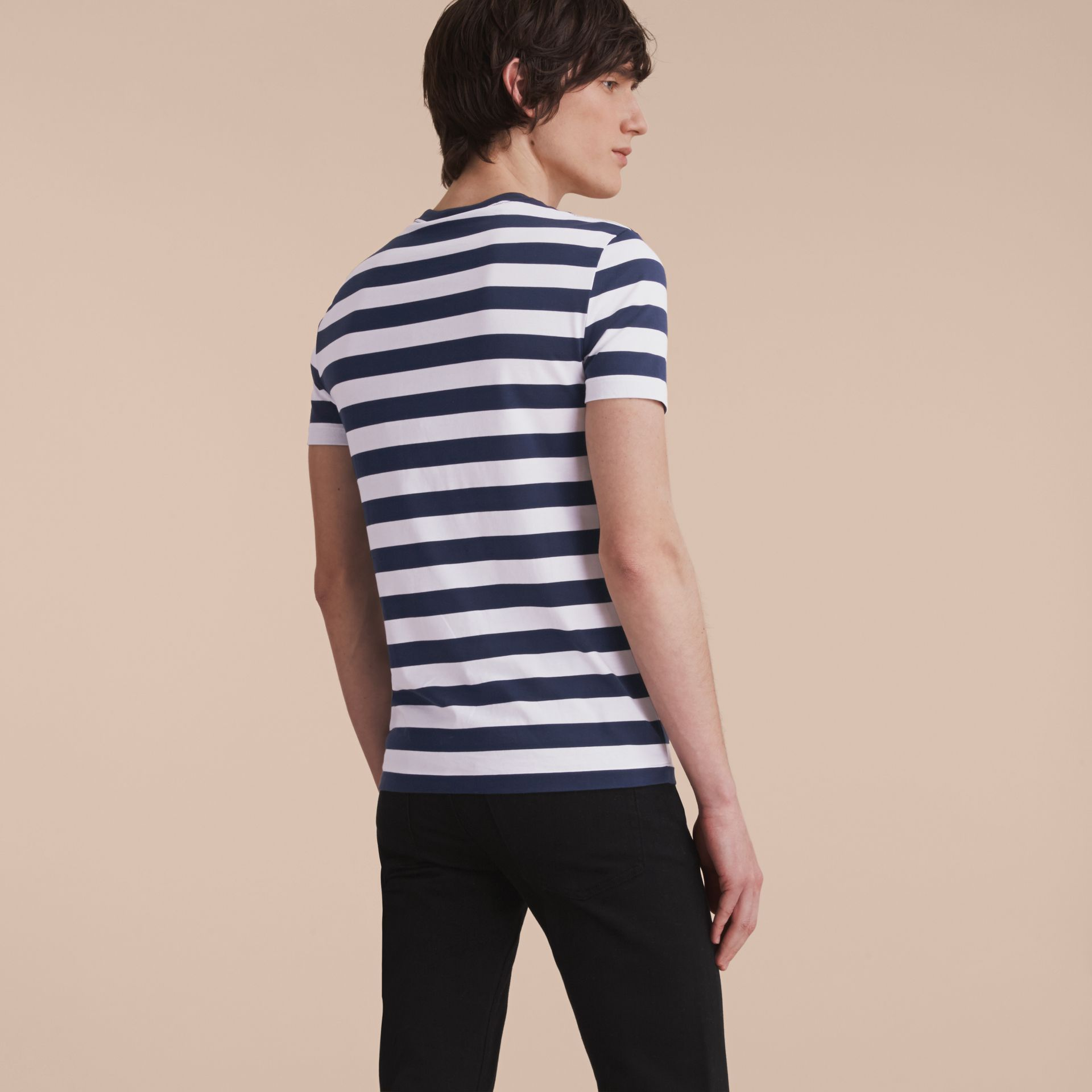 Striped Cotton T-Shirt in White/navy - Men | Burberry - gallery image 3