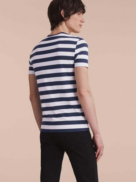 Striped Cotton T-Shirt in White/navy - Men | Burberry - cell image 2