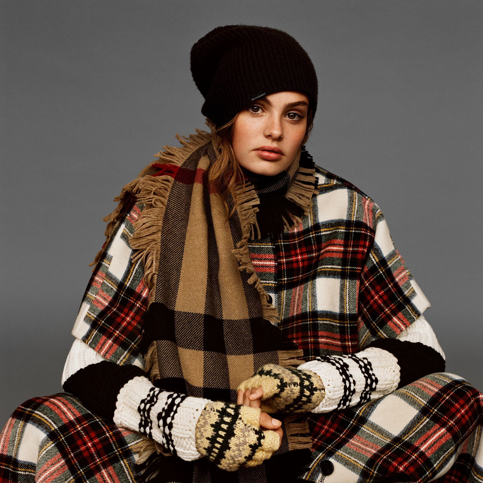 Fringed Check Wool Scarf in Camel | Burberry - gallery image 4