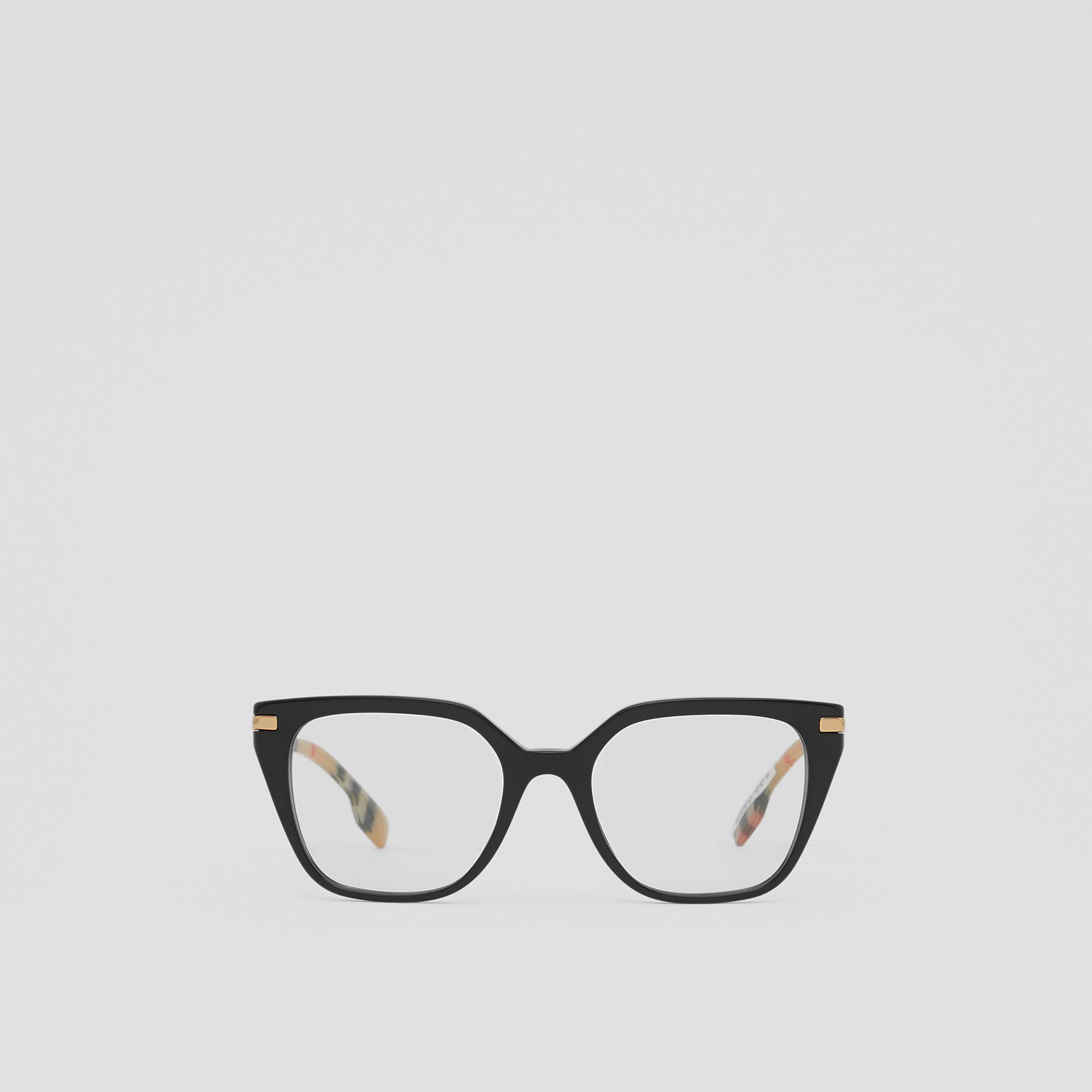 Vintage Check Detail Square Optical Frames in Black/archive Beige - Women | Burberry Canada - gallery image 0