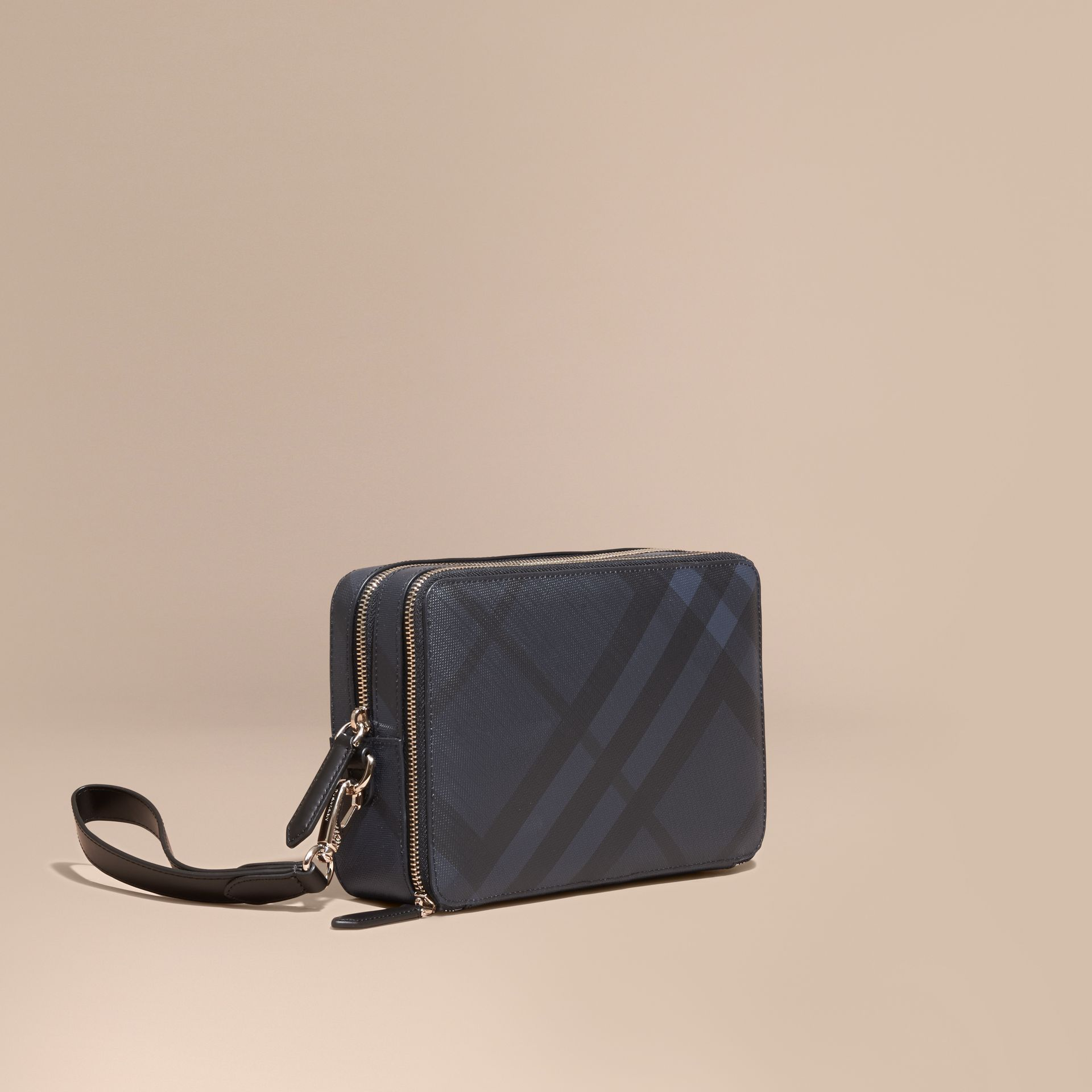 Leather-trimmed London Check Pouch in Navy/black - Men | Burberry Australia - gallery image 1
