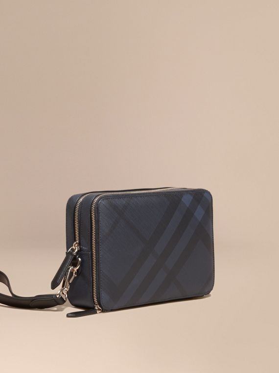 Leather-trimmed London Check Pouch in Navy/black