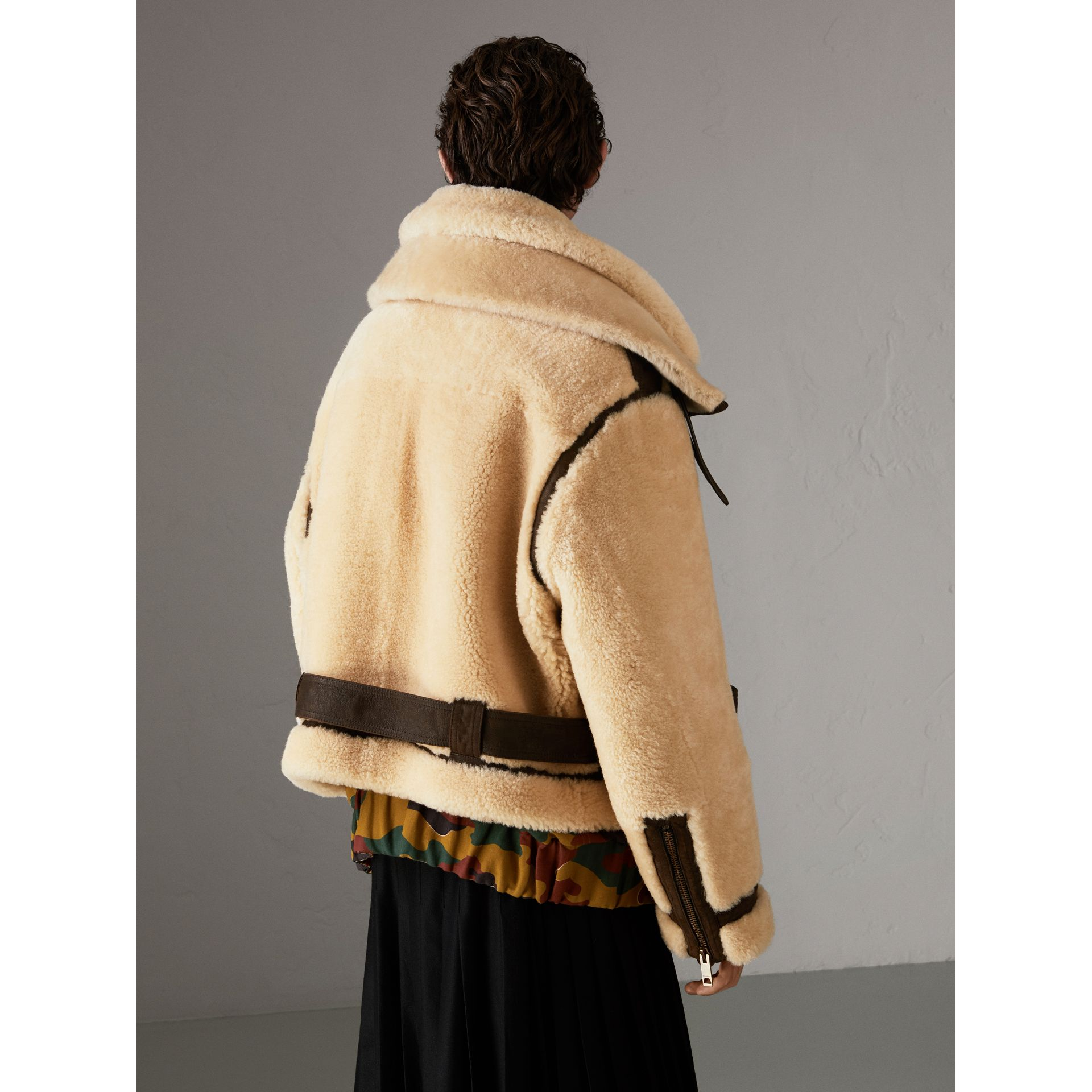 Reissued 2010 Shearling Aviator in Sand | Burberry Singapore - gallery image 2