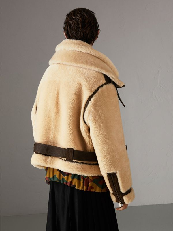 Reissued 2010 Shearling Aviator in Sand | Burberry United Kingdom - cell image 2